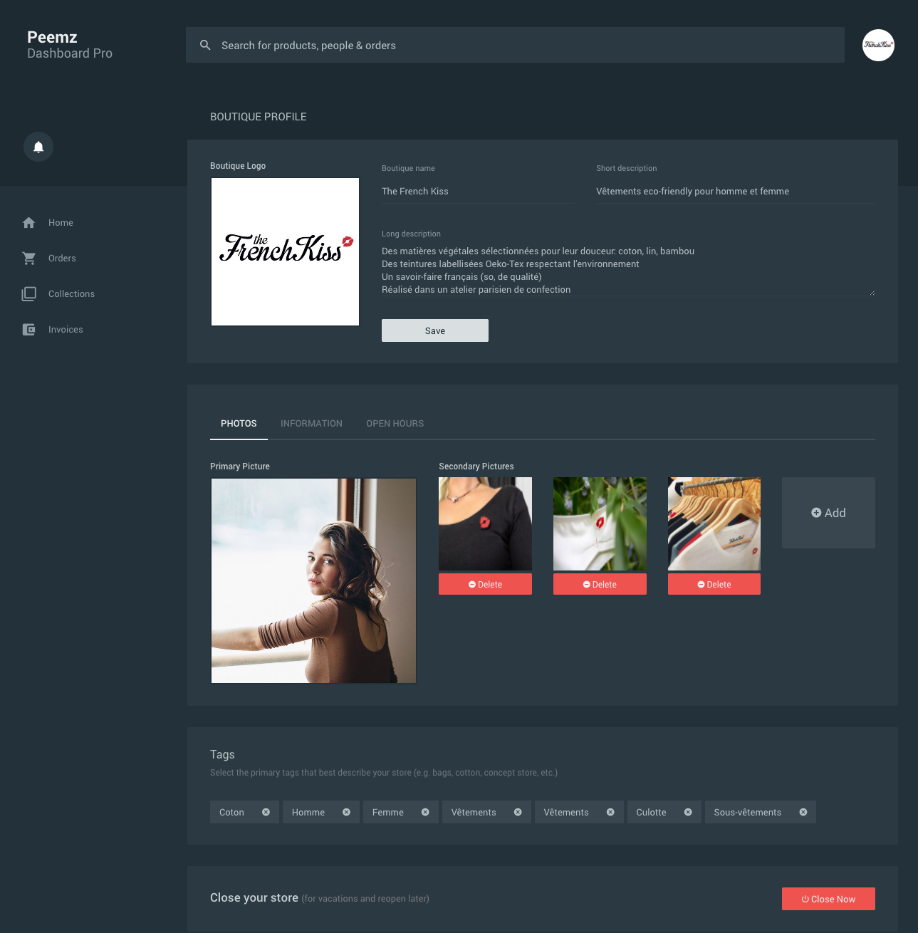 Peemz Boutique Dashboard